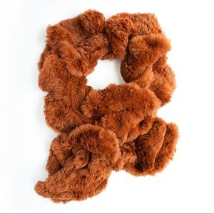 Jocelyn 100% Rabbit Fur Burnt Orange Scarf
